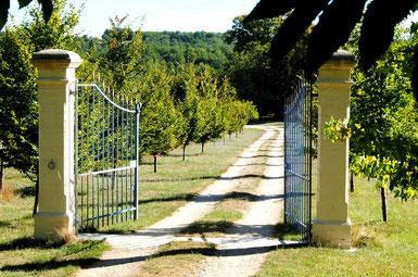 Die Einfahrt zu La Charmeraie