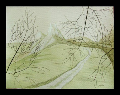 """Chemin"" - Aquarelle format 24x32cm"