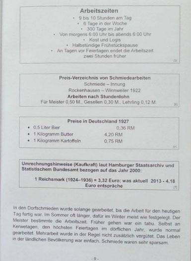 1920,  Arbeitszeiten und Preise in der Alten Schmiede