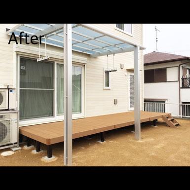 神戸市北区 ウッドデッキ・テラス屋根設置 After マスタードリフォーム