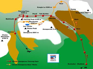 itinéraires des treks Annapurna Thorong et Tilicho Lac