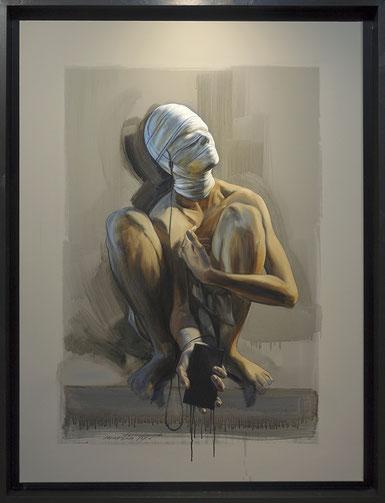 """F.MARTIN© """"Connecté"""" Huile sur toile 97X130"""