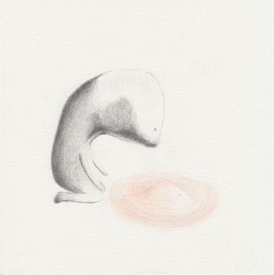 Réflexion I• dessin graphite & crayon de couleur sur papier • 21x21 cm © Emmanuelle Bec 2016 / Reflexion I • graphite & colored pencil drawing on paper • 8 1/4 x 8 1/4 in © Emmanuelle Bec 2016
