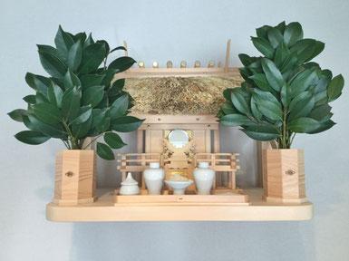 一社神明(唐戸タイプ) 檜棚板(45cm x 30cm) 雲板セット ご神鏡(小) セトモノ(小)