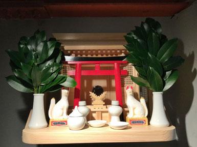 一社神明(唐戸タイプ) 檜棚板(45cm x 30cm) ご神鏡(小) セトモノ(小)