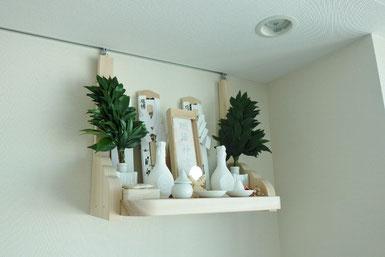 桧棚板(45cm x 30cm) 雲形支柱 絵画用のフックを利用