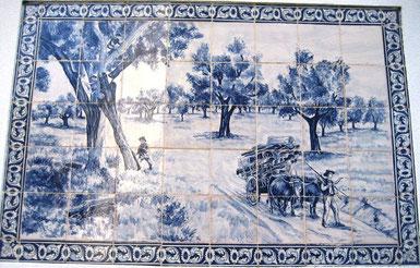"""""""Korkernte im Alentejo"""" blau-weiß Art.-Nr.: PN-129, Größe: 1,26x84cm"""