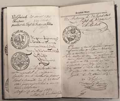 Genève 20. 4. 1846 / Nyon 23. 4. 1846 / Aubonne 22. 7. 1846 / Genève [?] 8. 8. 1847