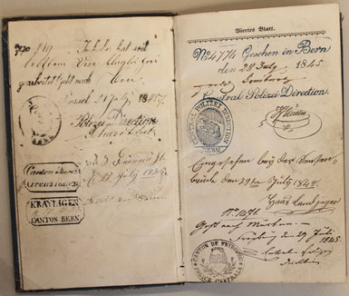 Basel 21. 7. 1845 / Kraylingen BE 27. 7. 1845 / Bern 28. 7. 1845 / Sensenbrücke 29. 7. 1845 / Fribourg 29. 7. 1845