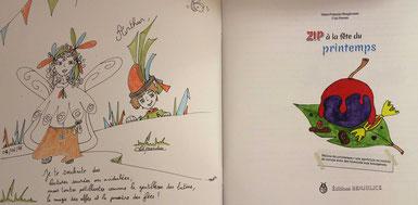Détails d'une dédicace de l'illustratrice Cloé Perrotin pour le livre jeunesse Zip à la fête du printemps