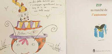 Détail d'une dédicace de Cloé Perrotin l'illustratrice pour le livre jeunesse Zip au marché de l'automne