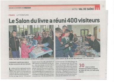 Le journal Le Progrès de l'Ain présente le Salon du Livre de Frans 2016 et la vente dédicace de Cloé Perrotin
