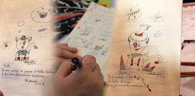 Photomontage de dédicaces du livre tout public Le chat qui veut devenir un petit garçon par Cloé Perrotin