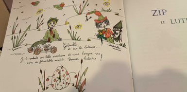 Détails d'une dédicace de l'illustratrice Cloé Perrotin pour le livre jeunesse Zip le lutin