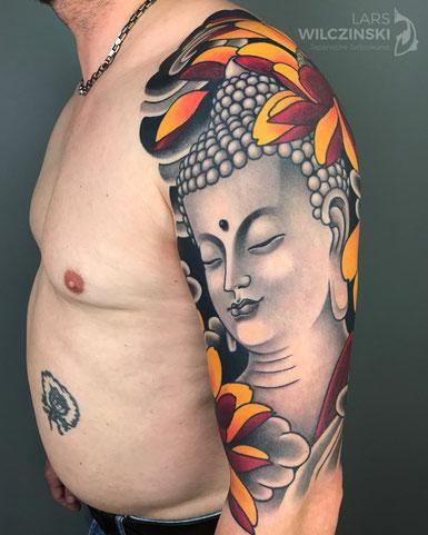 Lars Wilczinski, Tattookünstler, Tattoo-Atelier Berlin, Buddha, Buddhismus, Tattookunst, Japanische Tattoos, Japanese Tattoo, Japantattoo Motiv