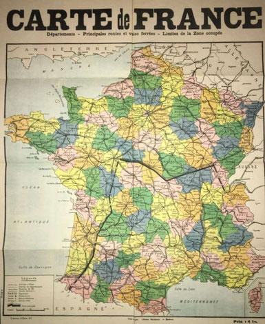 Carte d'avant novembre 1942 indiquant la zone libre au Sud et la zone occupée au Nord