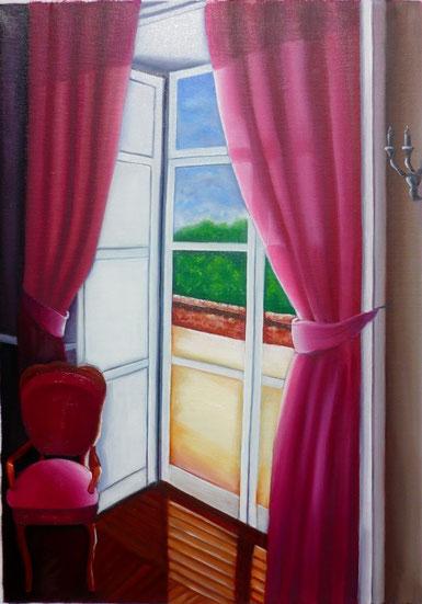 un fauteuil vide, devant une fenêtre, la solitude a laissé place à l'absence