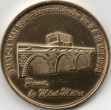 """Verso de la piéce de 5 € , opération """"euro de Laon"""" du 9 au 24 mai 1998"""