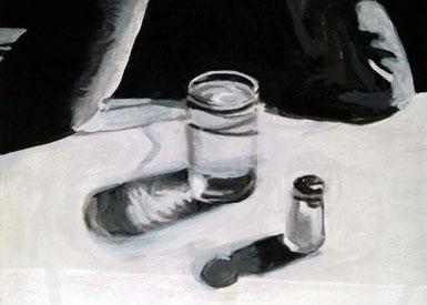 Die Zeit in einem Glas, 30 x 24 cm, Acryl auf Leinwand, 2008.