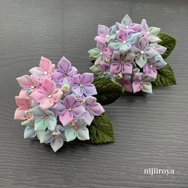 紫陽花のコサージュ つまみ細工nijiiroya