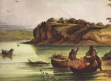 Unweit ihres aus 60 Hütten bestehenden Dorfes transportieren Mandan-Frauen in Booten, die Bisonfellbespannung haben, Brennholz über den Missouri.