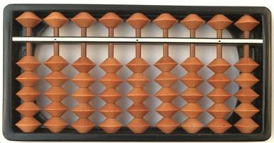 "Pequeño ábaco japonés ""soroban"" anterior IIGM, 9 columnas, 11x6 cm"