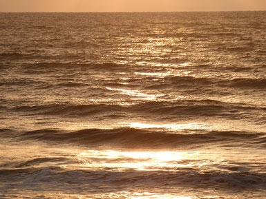 前にちびっ子が夕日の染まる海を見て「オレンジ色の海だ~」って