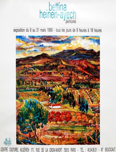 Einladungskarte zur Vernissage und Plakat der Bettina Ausstellung im Centre Culturel Algerien in Paris, 1990