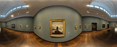 Panoramaaufnahme vom Caspar David Friedrich-Saal der Hamburger Kunsthalle. Foto: Hamburger Kunsthalle/Marco Vedana