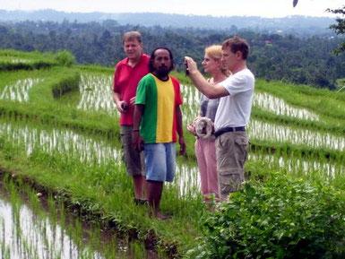 Touristen, die in Reisfeldern mit Blick zur See Fotos schießen