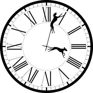 Zwei Windhunde ersetzen die Zeiger einer stilisierten Uhr.