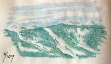 Kunst, Aquarell, Mario Vetter, Berge, Bäume, Missen, Börlas, Winter, Aufters Alpe