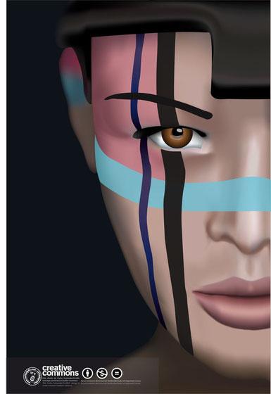 Cara de mujer, Mallas de illustrator