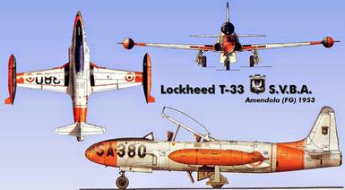 T-33 della Scuola Volo di Amendola.  Fonte: Monografie Aeronautiche Italiane - Elaborazione AeroStoria