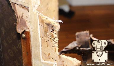 larve blanche dans du bois de malle louis vuitton