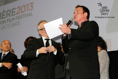 Thierry Fremaux et Quentin Tarantino, lors de la cérémonie d'ouverture du Festival Lumière à Lyon le 14 Octobre 2013 - Photo © Anik COUBLE