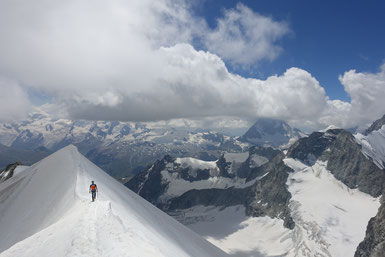 Zinalrothorn, Rothorngrat, Abstieg Normalweg