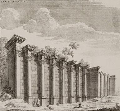 ꧁ Bibliothèque d'Hadrien, Athènes, gravure de Richard Pococke, 1745 ꧂