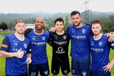 Große Freude bei Stefan Maccani, Ygor Vieira, Sandro Eichhübl, Fabio Feldkircher & Patrick Prantl nach dem Heimsieg gegen den SC Fussach