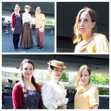 Am Set, ZDF, drei Schauspielerinnen. Zu sehen sind: Leonie Sattler, Ramona Schmid, Katharina Riepler. Rollen: Mutter, Mary Poppins, Öko-Kinderfrau
