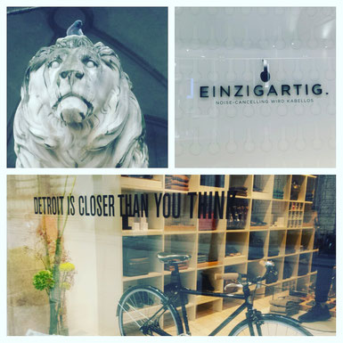 Collage of bavarian lion, street displays in Munich by Susanne M Taylor
