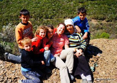albanische Familie in den Bergen