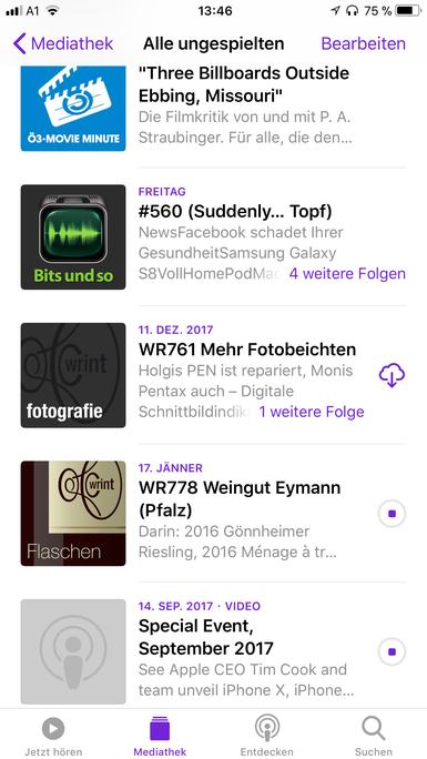 Bildschirmfoto von der Podcast App auf einem iPhonemit iOS11:Die Reihenfolge ist wahllos, die Grafiken sind zu groß- alles kaputt für mich.