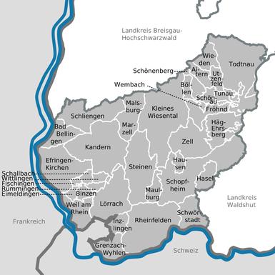 """Karte Landkreis Lörrach - Wikimedia Commons - Hagar66 -  Creative-Commons-Lizenz """"CC0 1.0 Verzicht auf das Copyright"""""""