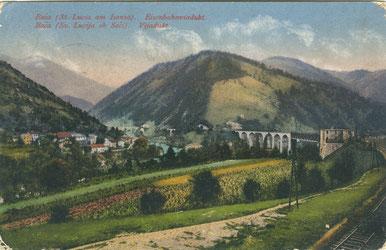 Eine zeitgenössische Ansichtskarte mit dem Eisenbahnviadukt und der Brückenbefestigung. Sammlung www.isonzofront.de