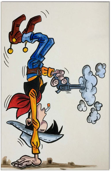 Lucky Luke upside down