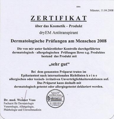 Zertifikat dryEM Antitranspirant