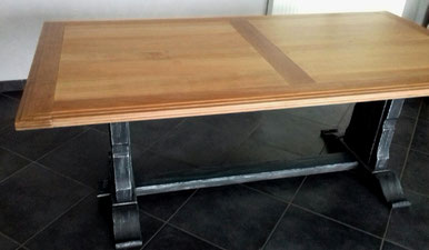 Table Merisier Style Industriel Naturel Artisanal Ebeniste Savoie