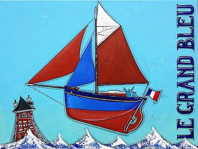 Tableau de l'artiste peintre Ramine représentant le grand bleu à Camaret-sur-mer.