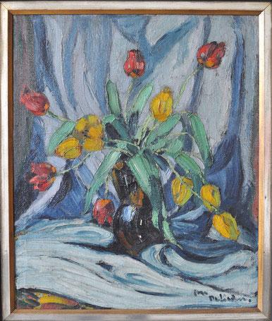 Em Oeliden Tulpen in Vase Öl auf Textil signiert